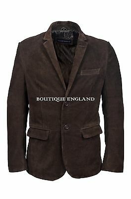 Mens Leather BLAZER Brown Suede Classic ITALIAN Tailored Soft REAL LEATHER