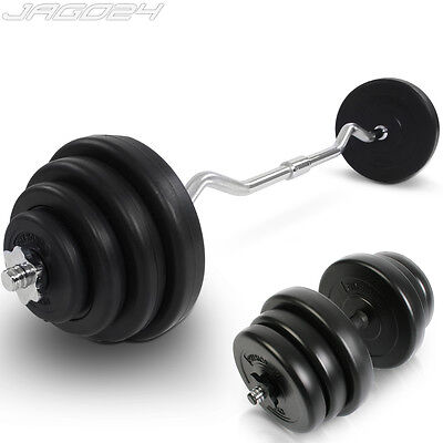 20kg Dumbbell + 23.5kg Curl Bar Weight Set Home Gym Weightlifting Arm Workout