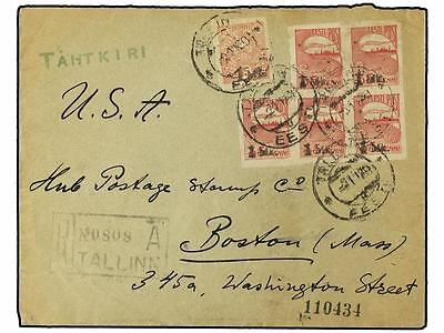 ESTONIA. 1920. Registered cover to USA with 1920 1 m. o