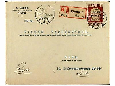 FIUME. 1922. Registered cover to VIENNA with Pr