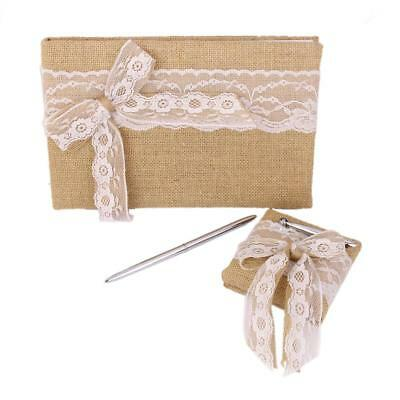 Rustic Wedding Jute Burlap Hessian Lace Bowknot Guest Book Pen Set Supplier