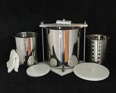 "Stainless Steel 6"" & 4"" Spring Assisted Double Cheese Press w/ Soft Cheese Mold"