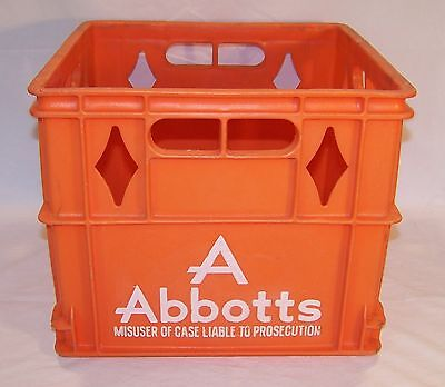 Vintage Milk Crate - Abbotts - Orange Heavy Plastic - Pa. Dairy Advertising