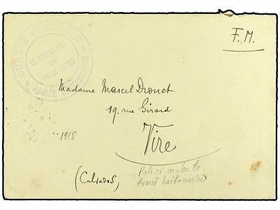 GREAT BRITAIN. 1918. Military mail envelope to FRANCE ca