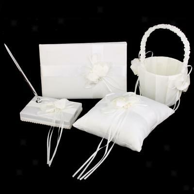 Wedding Party Pearl Flower Guests Book Pen Ring Pillow Flower Basket Decor