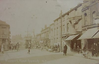 Animated Norwich Road Ipswich Suffolk 1908 Rp Pc