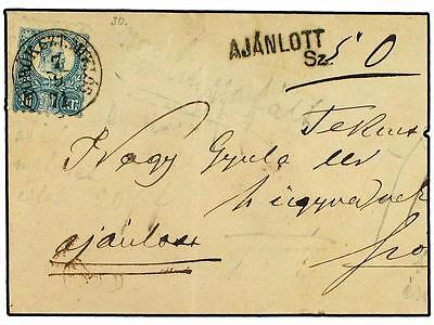 HUNGARY. 1873 (Sept 7). Part registered cover to SZOLNO
