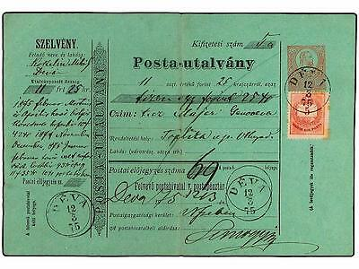 HUNGARY. 1875. 5 kr. Money order (H & G J7) with added