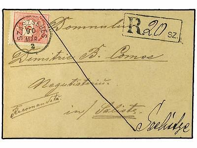 HUNGARY. 1890. Registered envelope to Szecsel bearing 5