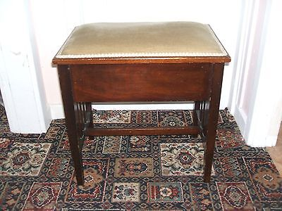 lovely antique edwardian mahogany piano stool with lift up padded top