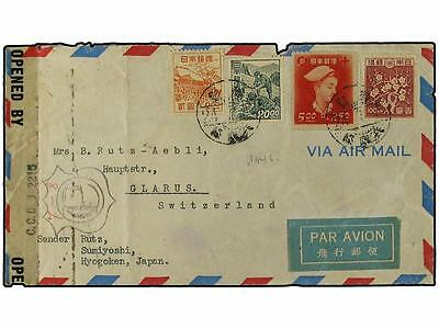 JAPAN. 1948. Censored envelope to Switzerland bearing 1