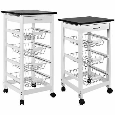 3 4 Tier Kitchen Trolley White Cart Basket Storage Drawer Wood Top Portable