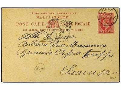 MALTA. 1903 (June 9). 1d. red on buff stationery card u