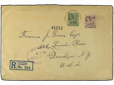 MONTSERRAT. 1930. Registered envelope to New York frank