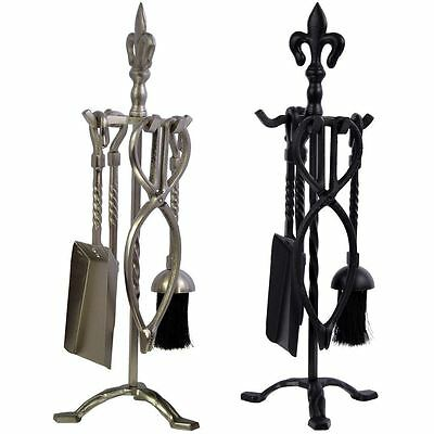 Fleur Companion Sets 5 Piece Set Black Pewter Fire Fireplace Cast Iron Tools