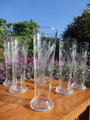 Art DECO 30s 40s VINTAGE Etched Hand Blown HIGH BALL Water Champagne BEER GLASS