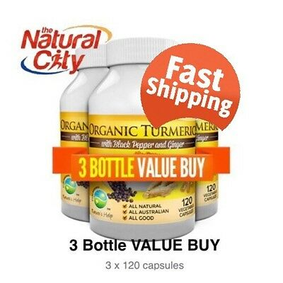 Nature's Help Organic Turmeric (Curcumin) with Black Pepper & Ginger 120caps x 3