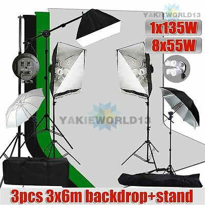 2875W Studio Softbox Umbrella Lighting Boom Light 3pcs Muslin Backdrop Stand Kit