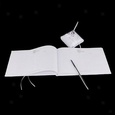 New Wedding Party White Satin Guest Book Pen Set Crystal Bow Guestbook Decor