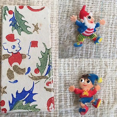 Vintage Noddy Big Ears Empire made Flock Brooches 1960's in Christmas Gift Box