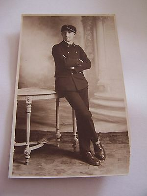 RP Postcard French Man in Uniform 1920s Cap with number 2 C Cade Nantes