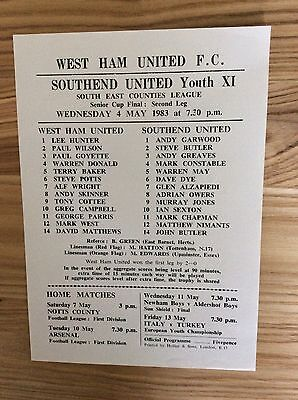 West Ham Youth v Southend United Youth ( SECL Cup Final 2nd Leg ) 4/5/1983