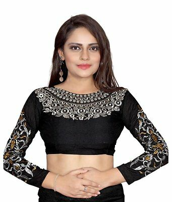 9 Black Georgette Blouse With saree Matching Indian designer heavy Work Every  3