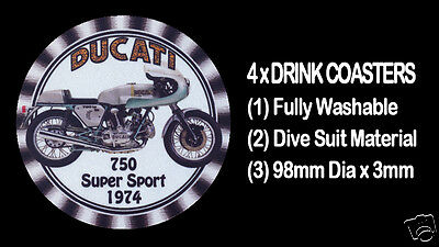 4 X DUCATI  750cc  1974 SUPER SPORTS, MOTOR CYCLE MOTORCYCLE, DRINK COASTERS