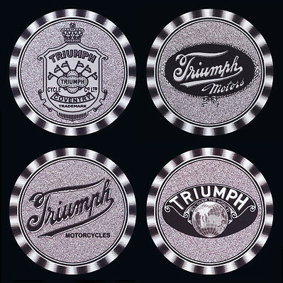 4 x TRIUMPH EARLY DIFFERENT LOGOS MOTORCYCLE MOTOR CYCLE DRINK COASTERS