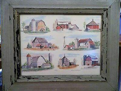 LITHOGRAPH OF BARNS PRINT FRAMED IN BARNWOOD by BEV WICKMAN ~ SIGNED & NUMBERED