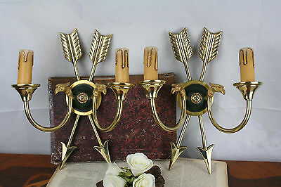 PAIR french empire Arrow Swan wall lights Sconces 1950 metal brass