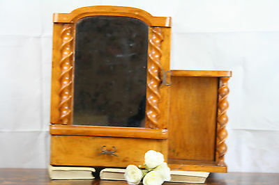 Gorgeous Barley twist columns Apothecary wall cabinet wood mirror 1930 art deco