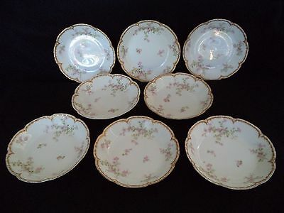 French Haviland china 8 soup bowls plates Sch 29 K pink flowers double gold