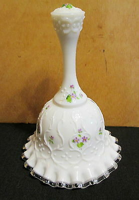 """Fenton 3567 DV Handpainted Violets in the Snow Spanish Lace 6"""" Bell 1984"""