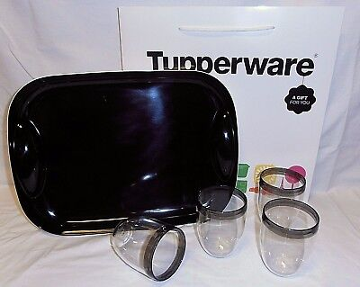 Bnip Tupperware Table Collection Tumblers (4) & Black Serving Tray!