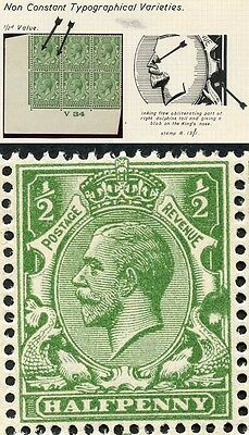 1924 1/2d Block Cypher Dot on Nose flaw U/M