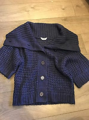 Girls Age 12/13 Cardigan Chunky Knitted, Purple Funnel Collar Tammy Girl