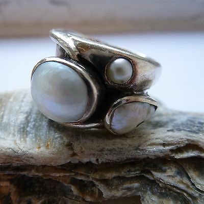 Large 925 silver and pearl ring - size R