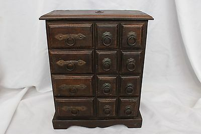 Beautiful Antique 12 Drawer Solid Wood Apothecary Cabinet / Spice Chest