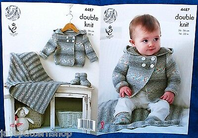 Babies Childs Double Knit Easy Jacket Blanket Boots Knitting Pattern 14 -22 Inch