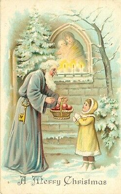 1907 Germany Father Christmas Santa Claus in Blue Robe Postcard