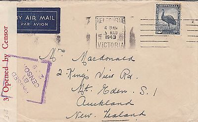 P 1403 Melbourne 1943 censored airmail cover New Zealand; emu 5d 1/2d stamp used