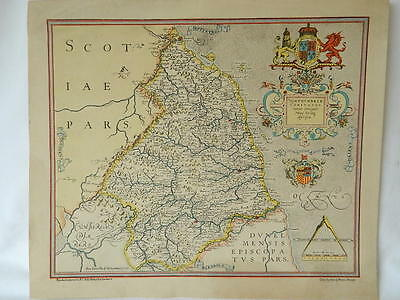 Coloured Map Of Northumberland After Saxton Original Of 1579