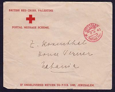 **rare** Uk Red Cross ,palestine Cover, 1942 Year , Wwii