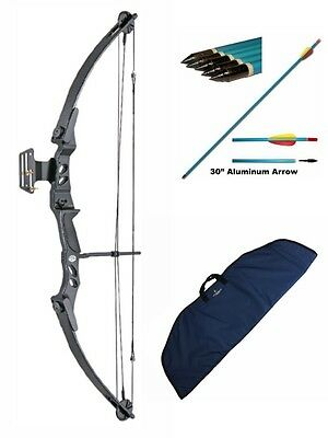 Lynx Archery Adult Compound Bow Complete Package with Bag & Arrows 55lb Draw