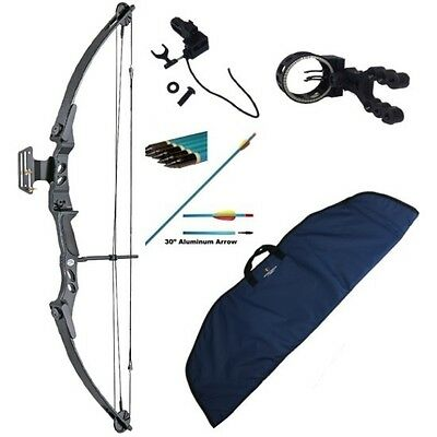 Adult Archery Compound Bow Packages 55lbs Sight, Arrows, Rest, Release Aid