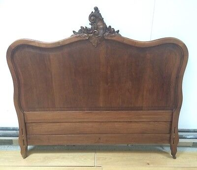 Vintage French Louis XV Style Carved Wooden Bed