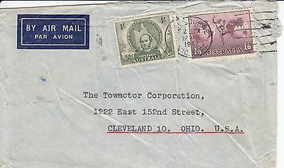 P 2149 Melbourne 1947 air cover USA; 2 sh 6d rate; odd rate; 1 sh Mitchell stamp