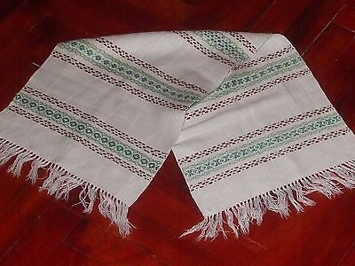 Vintage Swedish Hand Woven Linen Cotton Flax Wall Hanging  Weaving Handicraft