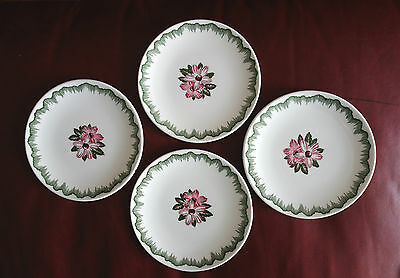 "8 Vintage Edwin Knowles 6.25"" Dessert Bread Plates Pink Flower Green Swag Scroll"